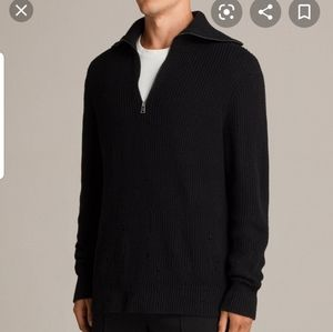Mens Allsaints Ivann Funnel Black Sweater